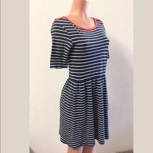 Pure + Good Nautical Blue White Stripe Knit Dress